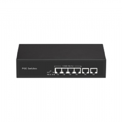 AI 100Mbps 6 port POE Switch with 4 POE port and 2 RJ45 Uplink