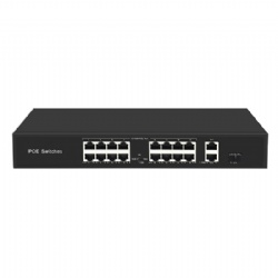 POE Switch with 16 100Mbps POE ports and 2 Gigabit RJ45 and 1 SFP Uplink