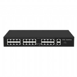 POE Switch with 24 100Mbps POE ports and 2 Gigabit RJ45 and 1 SFP Uplink