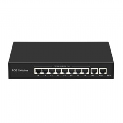 Gigabit POE Switch with 8 POE ports and 2 RJ45 Uplink